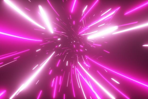 Abstrakcjonistyczny futurystyczny tunel z neonowymi światłami