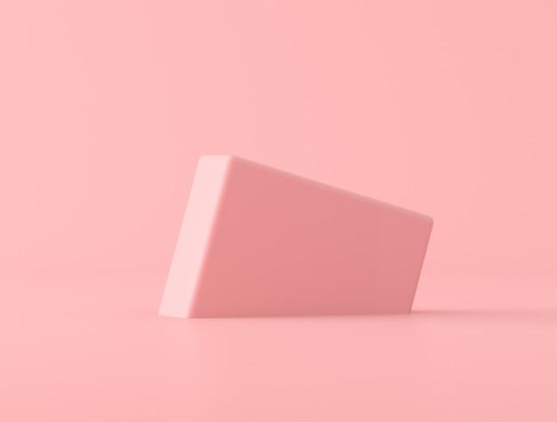 Abstrakcjonistyczny geometryczny kształt na różowym tle, pastelowi kolory, minimalny styl, 3d rendering