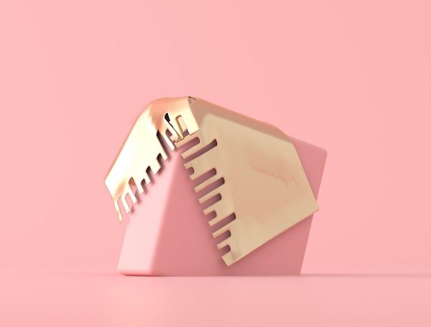 Abstrakcjonistyczny geometryczny kształt zakrywający z złocistym przedmiotem na różowym tle, pastelowi kolory, minimalny styl, 3d rendering