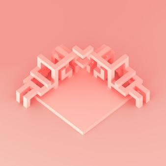 Abstrakcjonistyczny isometric przygotowania rozszerzająca się sześcianu 3d ilustracja