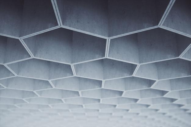 Abstrakcjonistyczny jasnopopielaty sześciokąta betonu wzór na suficie.