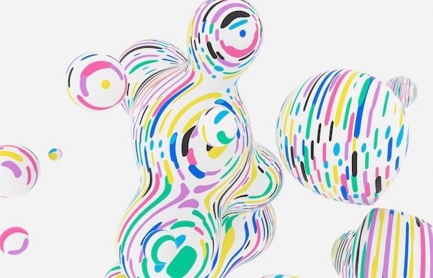 Abstrakcjonistyczny kolorowy 3d sztuki tło. holograficzne pływające kropelki cieczy, bańki mydlane, metabelki. styl memphis.