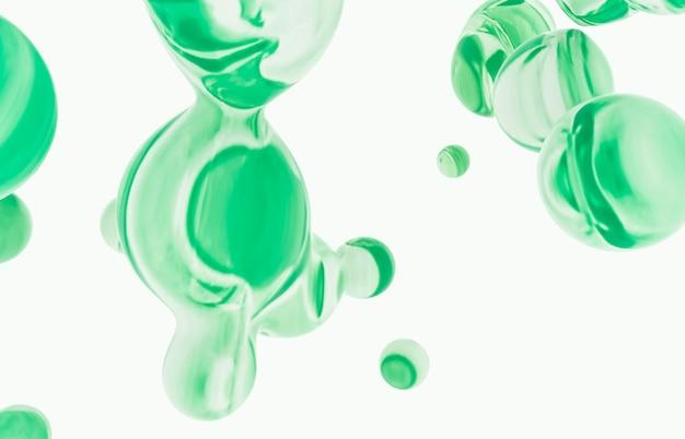 Abstrakcjonistyczny kolorowy 3d sztuki tło. holograficzne pływające kropelki cieczy, bańki mydlane, metabelki.