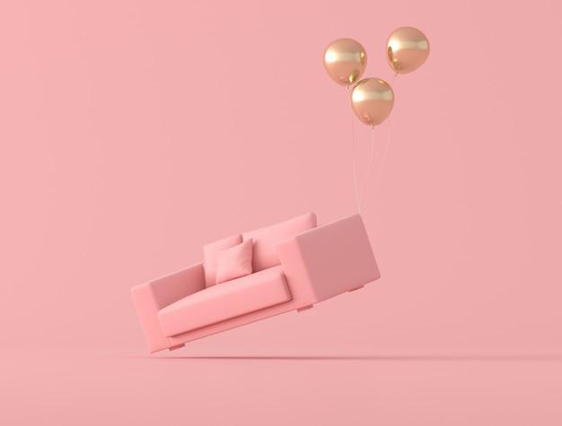 Abstrakcjonistyczny konceptualny pomysł różowa kanapa unosi się up balonami na różowym tle, minimalny styl. renderowanie 3d