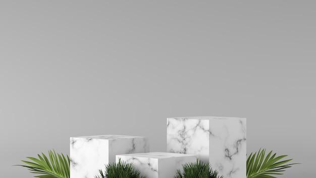 Abstrakcjonistyczny luksusu trzy białego pudełka marmurowy podium i zieleń liść w białym tle.