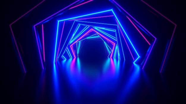 Abstrakcjonistyczny neon sześciokątny tunel technologiczny