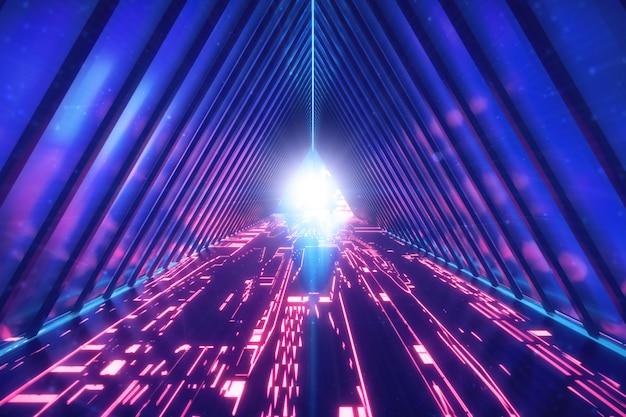 Abstrakcjonistyczny neonowy futurystyczny tunel tło