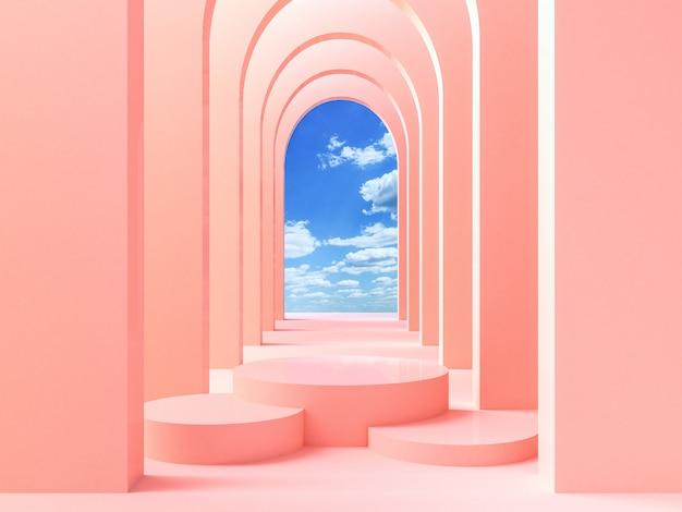 Abstrakcjonistyczny nowożytny tło z geometrycznym kształta podium dla produkt prezentaci, 3d rendering