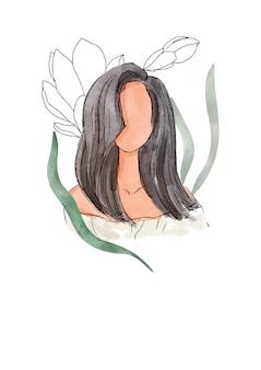 Abstrakcjonistyczny obrazek kobieta z liśćmi na białym tle. akwarela. projekt karty z pozdrowieniami