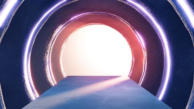 Abstrakcjonistyczny okrąg przestrzeni wnętrze salon wystawowy z pustą podłoga.