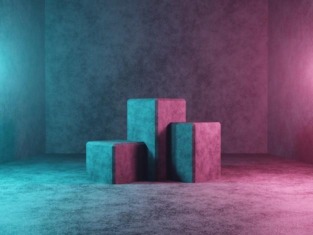 Abstrakcjonistyczny podium lub platforma na ciemnym betonowym tła 3d renderingu