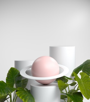 Abstrakcjonistyczny pokaz mody puste miejsce dla przedstawienie produktów lub kosmetyków z wenus i tropikalnymi roślinami, 3d rendering