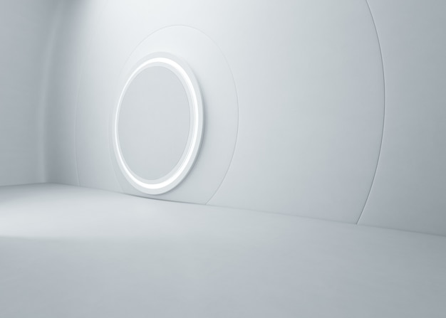 Abstrakcjonistyczny projekt wnętrz nowożytny salon wystawowy z pustą betonową podłoga i biel ścianą