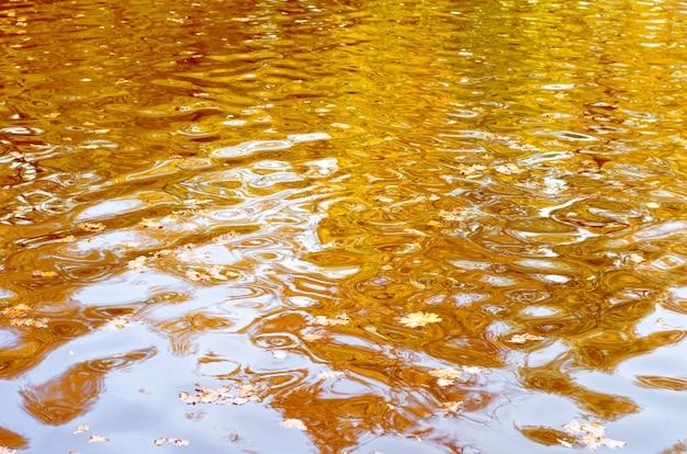 Abstrakcjonistyczny tło pluskocząca woda odbija aurumn żółtych drzewa i niebieskie niebo