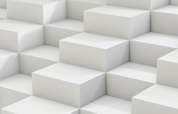 Abstrakcjonistyczny tło z białym 3d sześcianu pudełkiem. renderowania 3d. białe tło.