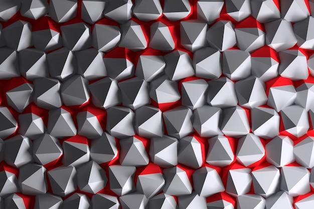 Abstrakcjonistyczny tło z białymi i czerwonymi barwionymi wielobokami.