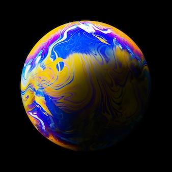 Abstrakcjonistyczny tło z błękitną żółtą i purpurową sferą