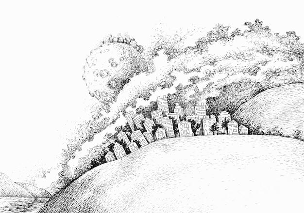 Abstrakcyjna atramentu graficznego nocnego nieba mgławica tła. gwiaździsta chmura mgła tajemnicze miasto tapeta. miejski czarno-biały ilustracja mgławicy kosmosu pyłu.,