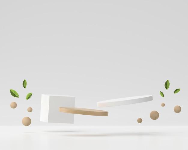 Abstrakcyjna biała i drewniana platforma podium do wyświetlania produktu prezentacja renderowania 3d