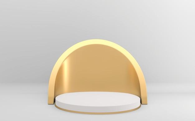 Abstrakcyjna biała minimalistyczna scena z geometrycznymi formami podium minimalistyczna geometryczna