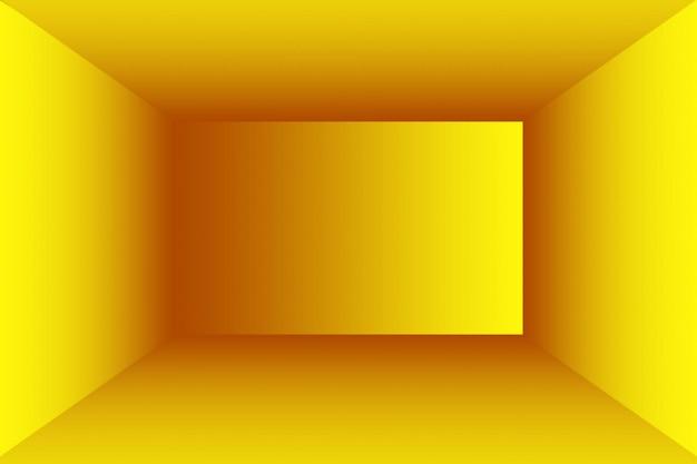 Abstrakcyjna bryła błyszczącego żółtego gradientowego tła ściennego pokoju studyjnego
