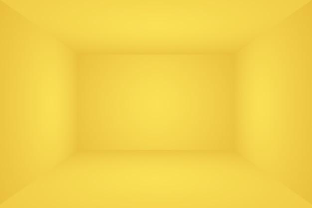 Abstrakcyjna bryła lśniącego żółtego gradientowego studio ściennego pokoju w tle d pokoju .