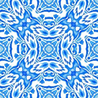 Abstrakcyjna dachówka arabeska adamaszku akwarela ręcznie rysowane wzór dla tkanin i ceramiki. wzór talavera. portugalia azulejos. turecki ornament. mozaika marokańska