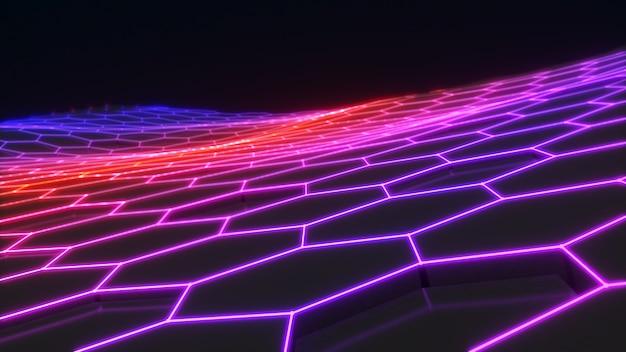 Abstrakcyjna fotografia tło przyszła technologia sześciokątny wzórneon light sześciokątna scena