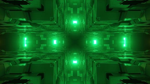 Abstrakcyjna geometryczna trójwymiarowa ilustracja jasnozielonych świateł oświetlających nierówne narożniki sześcianu wykonane z kwadratów i komórek w ciemności