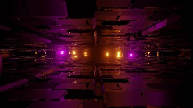 Abstrakcyjna geometryczna trójwymiarowa ilustracja jasnożółtych i fioletowych świateł między nierównymi ścianami wykonanymi z kwadratów i komórek