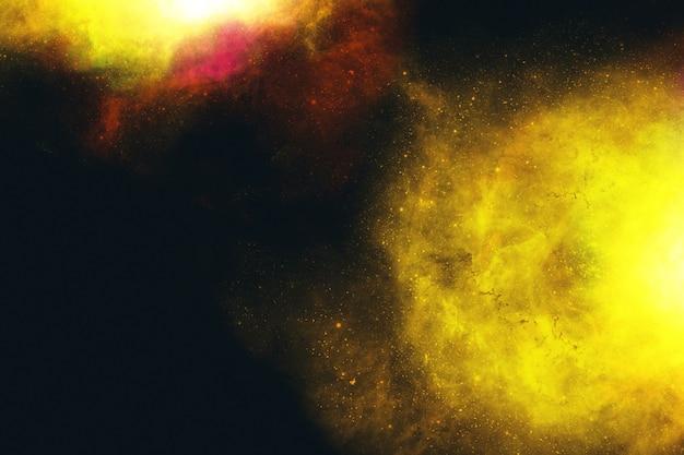 Abstrakcyjna grafika galaktyki w kolorze żółtym