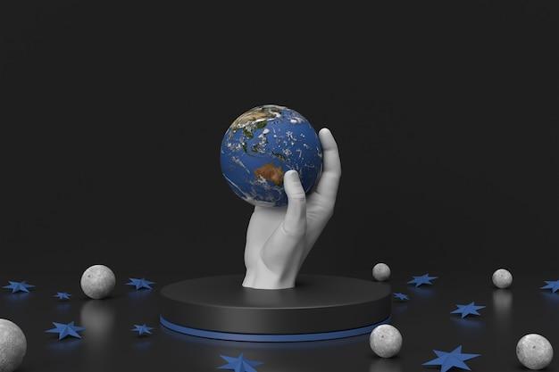 Abstrakcyjna grafika ręki trzymającej ziemię