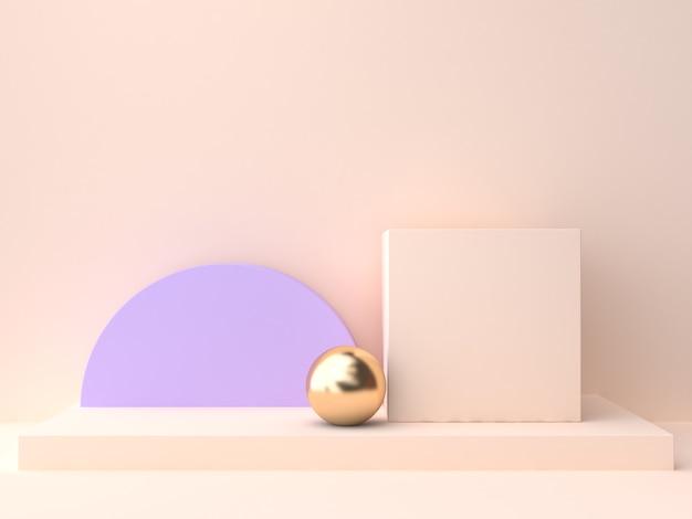 Abstrakcyjna grupa kształtu geometrycznego pusty podium krem fioletowo-fioletowy sceny ściany renderowania 3d