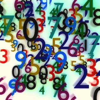Abstrakcyjna ilustracja zamazanych kolorowych liczb