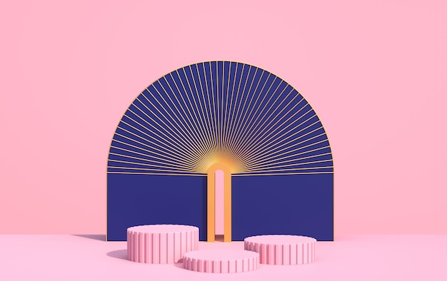 Abstrakcyjna kompozycja geometrycznych kształtów w stylu art deco i podium do prezentacji produktów, wielokolorowe kształty na różowym tle, renderowanie 3d