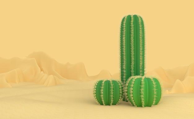 Abstrakcyjna koncepcja na temat męskiego penisa. trzy różne kolczaste kaktusy wyrastają z piasku na pustyni. niepłodność i abstynencja. ilustracja 3d.