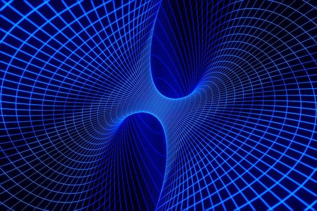 Abstrakcyjna linia sztuki tunelu w paski psychodeliczny tunel czasoprzestrzenny świecące światła renderowania 3d