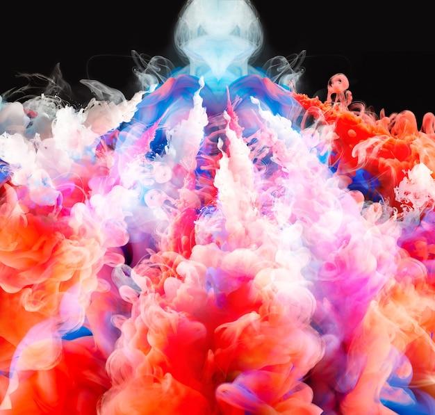 Abstrakcyjna Mieszanka Kolorów, Kropla Farby Mieszanka Atramentu Spadająca Na Wodę Kolorowy Atrament W Wodzie, Krople Kolorów W Wodzie Premium Zdjęcia
