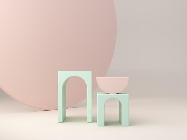 Abstrakcyjna minimalistyczna scena z geometrycznymi formami. podesty pudełkowe z łukami w pastelowych kolorach.