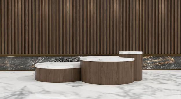 Abstrakcyjna minimalistyczna scena z geometrycznymi formami. pokaż produkt kosmetyczny, podium, cokół lub podest. 3d drewniany stojak na podium z cieniem liści. renderowania 3d