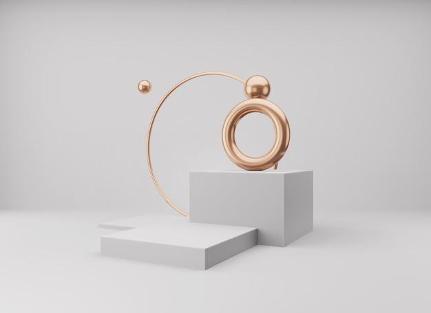 Abstrakcyjna minimalistyczna scena z geometrycznymi formami. pusty wyświetlacz podium na minimalnym tle.