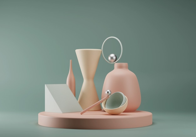 Abstrakcyjna pastelowa kompozycja z prymitywnych kształtów geometrycznych. koncepcja równowagi. scena dla