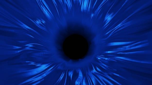 Abstrakcyjna przestrzeń w kształcie czworoboku, ciemne tło, low poly i linie łączące. struktura łącząca czarne dziury. renderowanie 3d.