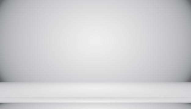 Abstrakcyjna pusty ciemny biały szary gradient z oświetleniem black winiety stałe studio ściany i podłogi tła dobrze wykorzystać jako tło. tło pusty biały pokój z miejscem na tekst i obraz.