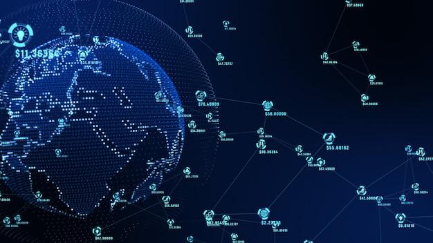 Abstrakcyjna reprezentacja danych i ścieżek połączeń sieci marketing.