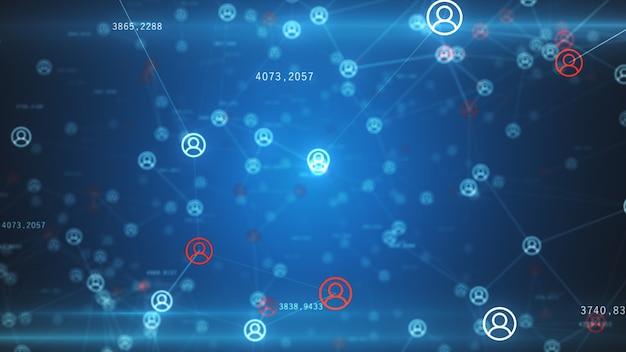 Abstrakcyjna sieć urządzeń fizycznych w internecie za pomocą połączenia sieciowego z numerami statystycznymi