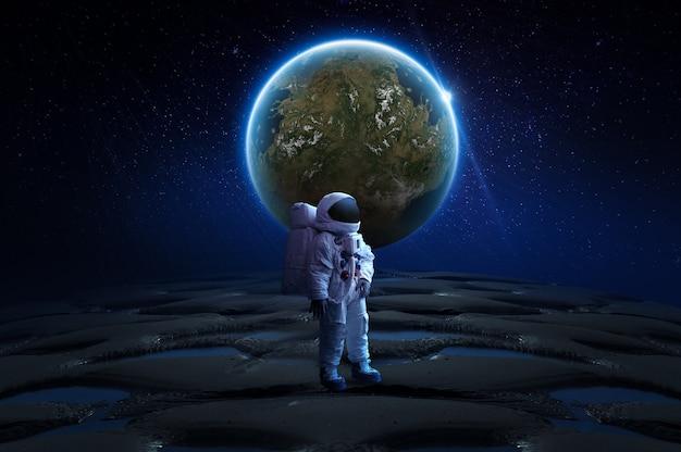 Abstrakcyjna tapeta kosmiczna astronauta na księżycu renderowanie 3d