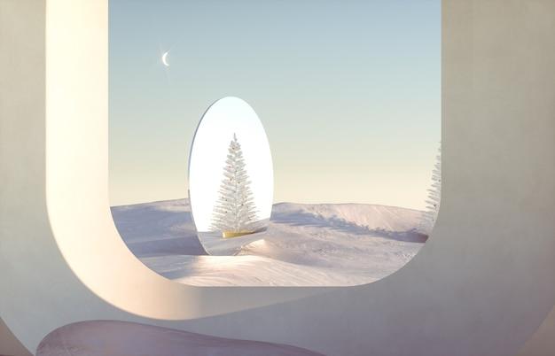 Abstrakcyjna zimowa scena bożonarodzeniowa z geometrycznymi formami, łuk z podium w naturalnym świetle.