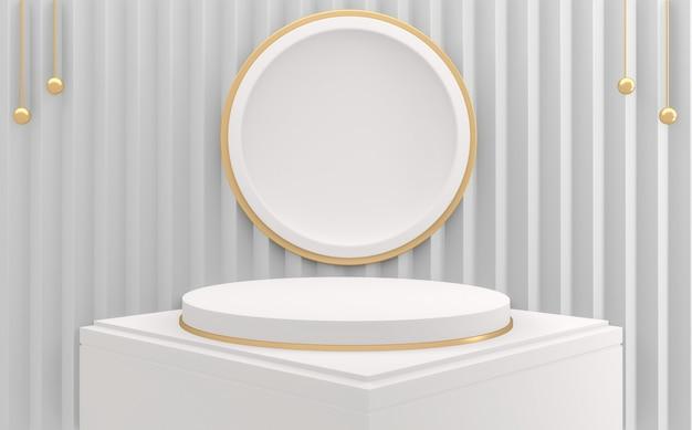 Abstrakcyjne białe podium minimalistyczne geometryczne. renderowanie 3d