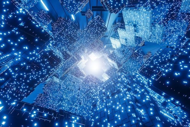 Abstrakcyjne cyfrowe futurystyczne tło sci-fi, duże zbiory danych, sprzęt komputerowy, sieć,